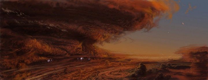 THE GREAT RED SPOT STORMS ON JUPITER